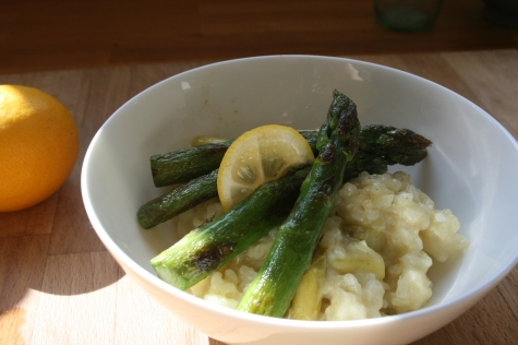 Meyer lemon risotto with green asparagus