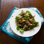 Ottolenghi's baby spinach salad with dates, almonds & crispy flatbread