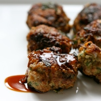 Turkey meatballs with soy-ginger glaze & griddled pak choi