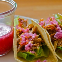 Cochinita pibil with sour orange, quick-pickled onions & habanero chile sauce