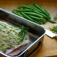 Roast lamb with a herb-mustard crust