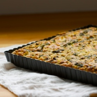 Spring onion tart with wild green garlic
